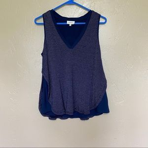 Anthropologie Deletta Navy Knit V-neck Tank Top